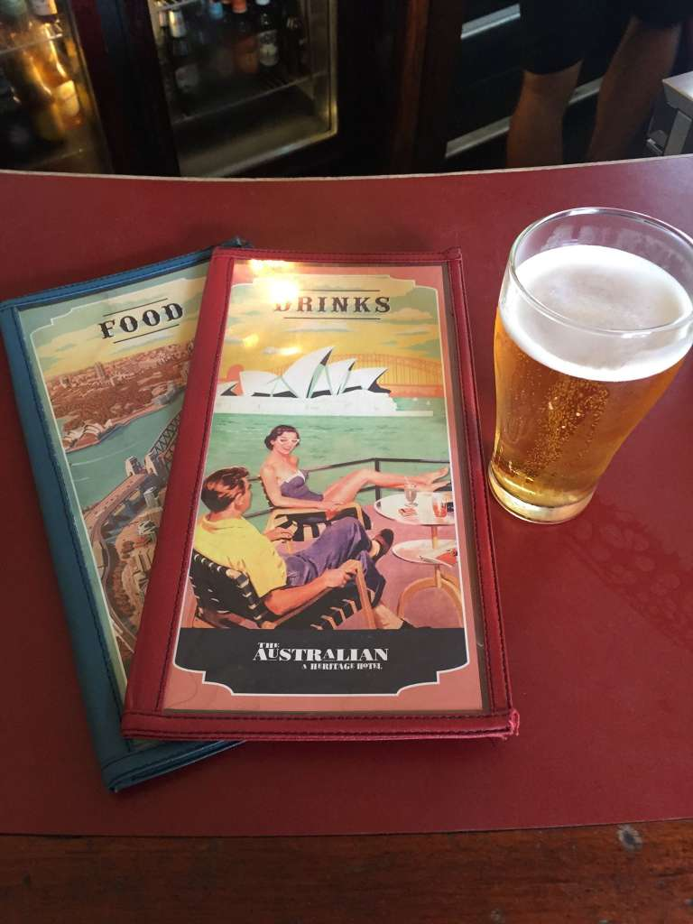 The Australian Pub Menu with a customary pint
