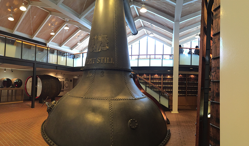 There's a huge distilling equipment that guest can walk into in the middle of the library