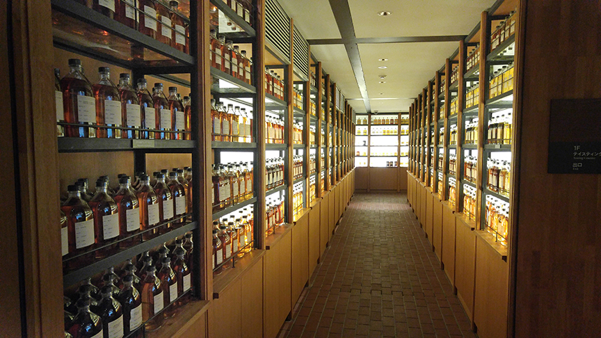 Yamazaki Whisky library houses over a thousand bottles of whiskies around the globe