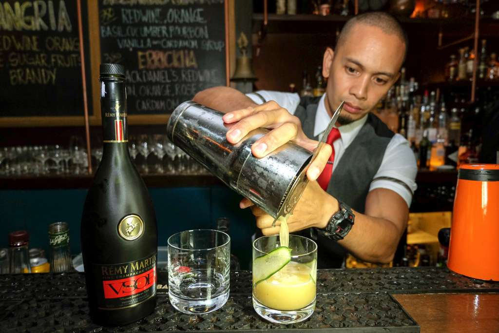 Hooch's Cedric Cello mixing up cocktails for the night