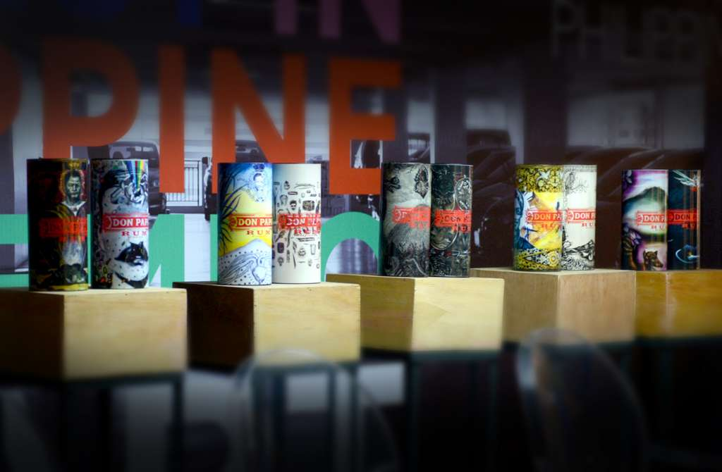 The finalist canisters from the first Don Papa Art Competition, featured during Art Fair Philippines last February 17-21, 2016