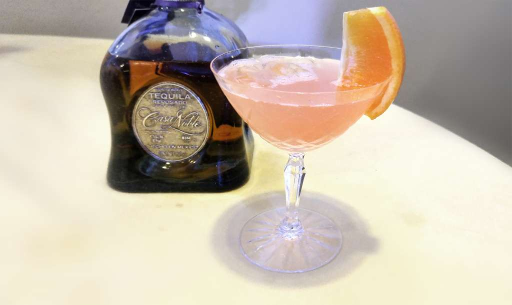 Paloma made with Casa Noble Reposado, grapefruit juice, lime juice, agave syrup